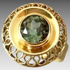 Retro 14k Gold Retro Tourmaline Gemstone Ring