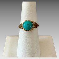 German Retro 8k Gold Natural Turquoise Ring