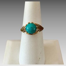 German Retro 8k Gold Natural Turquoise Ring