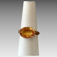German Retro 8k Gold Natural Citrine Gemstone Ring