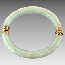 Chinese 14k Gold Jadeite Jade Bangle Bracelet