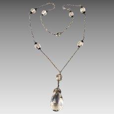 Sterling Silver Art Deco Quartz Rock Onyx Gemstone Lavaliere Pendant Necklace