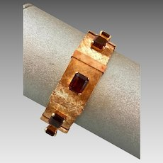 Retro 14k Gold Madeira Citrine Gemstone Slide Bracelet