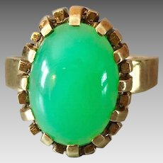 German Retro 14k Gold Natural Apple Jade Gemstone Ring