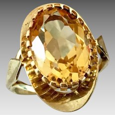 Germany Retro 8k Gold Natural Citrine Gemstone Ring