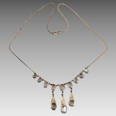 Sterling Silver Moonstone Bezel Set Drop Necklace