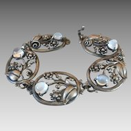 Antique Art Nouveau Sterling Silver Glowing Moonstone Bracelet