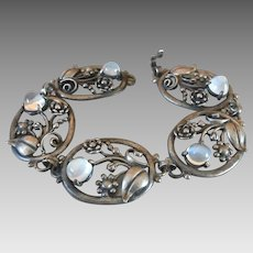 Antique Art Nouveau Sterling Silver Glowing Moonstone Bracelet