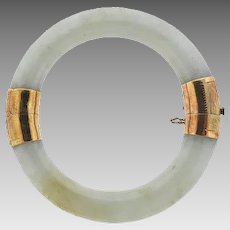 Chinese 14k Gold Natural Jadeite Jade Bangle Bracelet