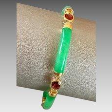14k Gold Chinese Jadeite Jade Garnet Tube Bracelet