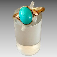 Antique 14k Gold Natural Sleeping Beauty Turquoise Ring