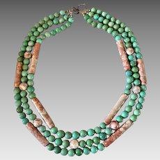 Southwestern Turquoise Jasper Gemstone Beaded Sterling Silver Necklace