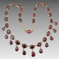 Antique Georgian 10k Gold Garnet Gemstone Riviere Cupped Setting Festoon Necklace Appraisal Included