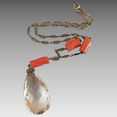 Sterling Silver Art Deco Quartz Rock Crystal Coral Gemstone Lavaliere Pendant Necklace