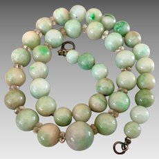 Antique Chinese Jadeite Jade Quartz Rock Crystal Beaded Sterling Silver Necklace