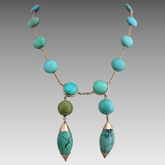 Antique Arts & Crafts 9k Gold Natural Turquoise Drop Necklace