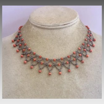 Antique Victorian Natural Coral Sterling Silver Festoon Necklace