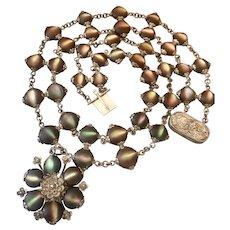 Unique Antique Sterling Silver Cats Eye Iridescent Stone Pendant Necklace
