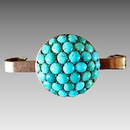 Antique Victorian Gilt Natural Turquoise Cluster Pin Brooch