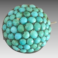 Antique Victorian Sterling Silver Pave Cluster Turquoise Brooch Pin