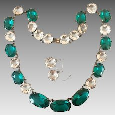 Antique Sterling Silver 14k Gold Emerald Paste Crystal Glass Riviere Open Back Necklace Earrings Set