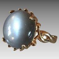 14k Gold Cats Eye Hard Stone Ring