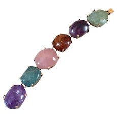 Art Deco 10k Gold Multi Gemstone Amethyst Beryl Aquamarine Citrine Rose Quartz Bracelet 90.3 Grams