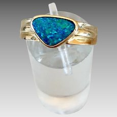 Retro 14k Gold Opal Gemstone Ring