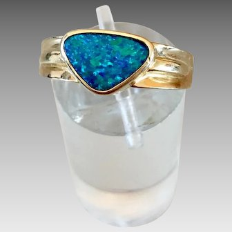 Retro 14k Gold Opal Gemstone Ring