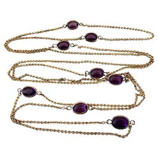 Art Deco Amethyst Glass Crystal Open Back Guard Chain Necklace