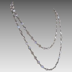 Vintage Sterling Silver Moonstone Open Back Bezel Set Necklace