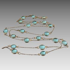 Art Deco Gilt Sterling Silver Aquamarine Color Crystal Bezel Set Guard Chain Necklace