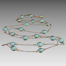 Art Deco Gilt Sterling Silver Aquamarine Color Crystal Bezel Set Guard Chain Necklace