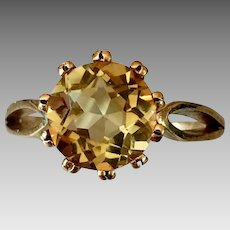 German Retro 8k Gold Natural Citrine Gemstone Ring