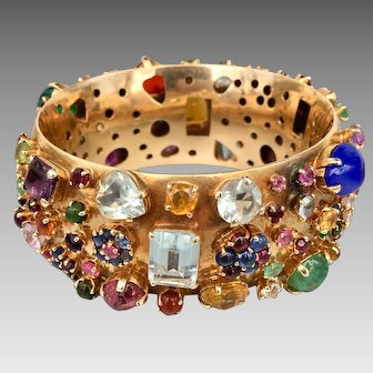 Gia Appraisal 14K Gold Tutti Fruitti Sapphire Tourmaline Garnet Aquamarine Multi Gemstone Bangle Bracelet $18,225