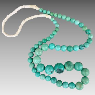 Antique Chinese Turquoise Beaded Gemstone Necklace 144.4 Grams