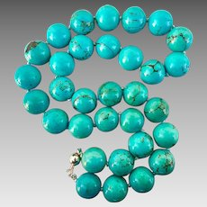 Sterling Silver Turquoise Hardstone Beaded Necklace Heavy 220.5 grams