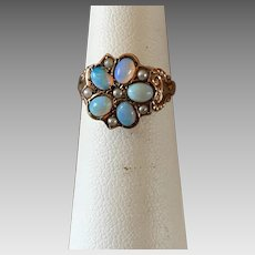 Antique Victorian 14k Gold Opal Seed Pearl Ring