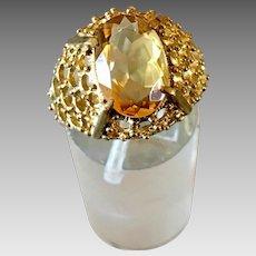 Germany Retro 8k Gold Natural Citrine Gemstone Ring