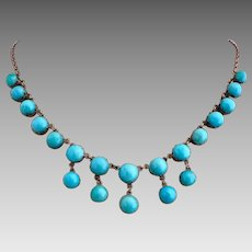 Antique Victorian 10k Sleeping Beauty Turquoise Gemstone Festoon Necklace