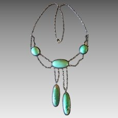 Antique Edwardian Sterling Silver Turquoise Negligee Lavaliere Necklace
