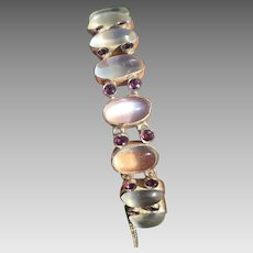 Art Deco Sterling Silver Glowing Moonstone & Amethyst Multi Gemstone Bracelet