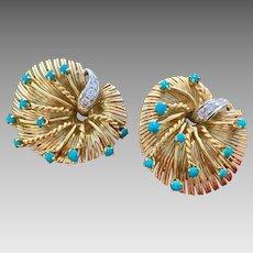 Retro 18k Gold Diamond Natural Sleeping Beauty Turquoise Signed Earrings