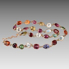 Antique 14k Gold Harlequin Multi Gemstone Moonstone Zircon Opal Tourmaline Necklace