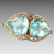 Retro 14k Gold Aquamarine Diamond Gemstone Ring