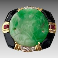 18K Gold Art Deco Carved Jadeite Ruby Diamond Black Onyx Multi Gemstone Ring