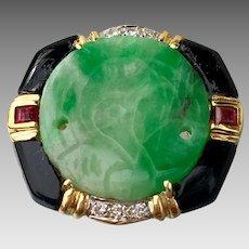 18K Gold Art Deco Carved Jadeite Ruby Diamond Black Onyx Multi Gemstone Ring