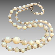 On Hold For Susan P Art Deco Opal Rock Crystal Beaded Necklace