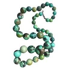 Chinese Sterling Silver Turquoise Gemstone Huge Beaded Necklace