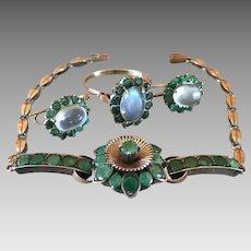 Art Deco Gilt Sterling Silver Moonstone Green Gemstone Bracelet Earrings and Ring Set Parue